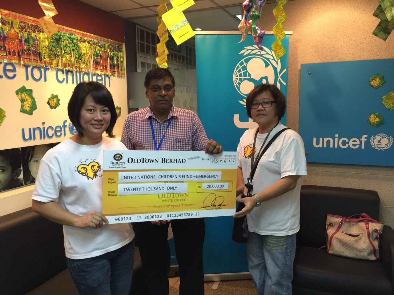 OCAF donated RM20,000 emergency aid fund to UNICEF Nepal Earthquake Children's Appeal.