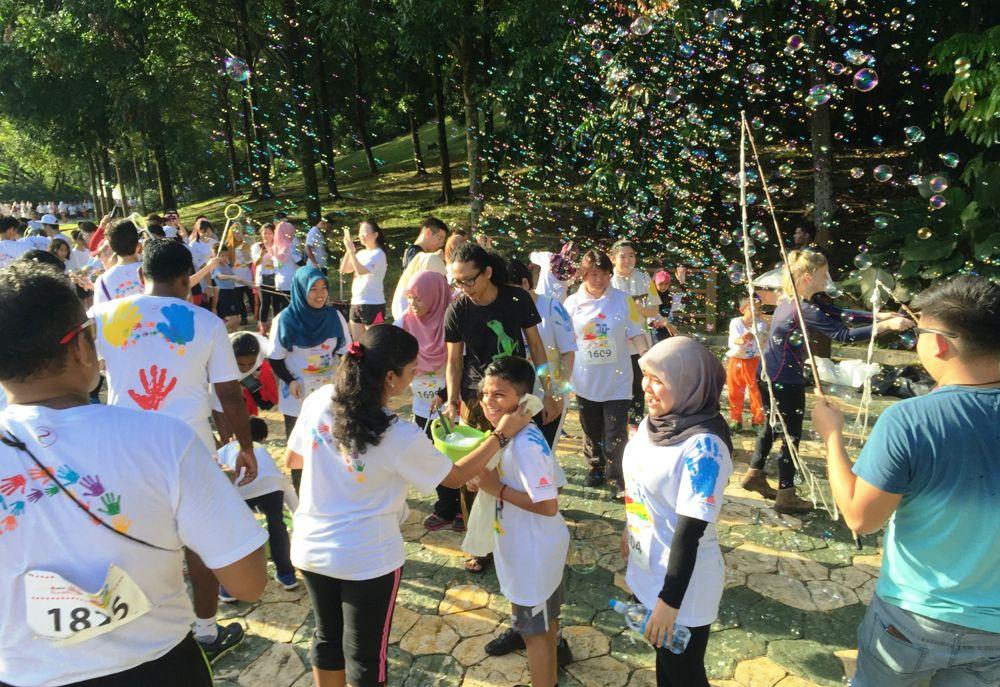 Children having fun at the bubble zone
