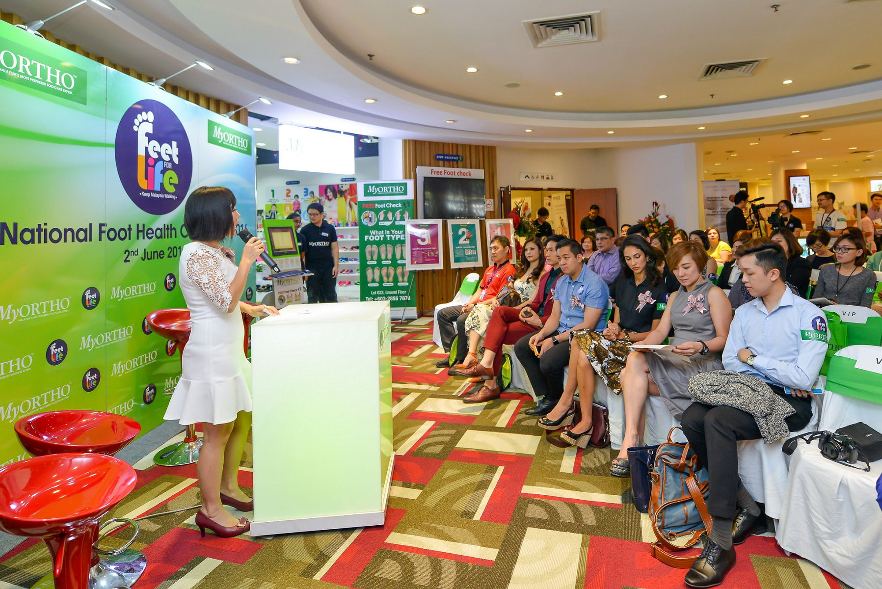 Datin Emily Lee explaining the evolution of foot health to the press members