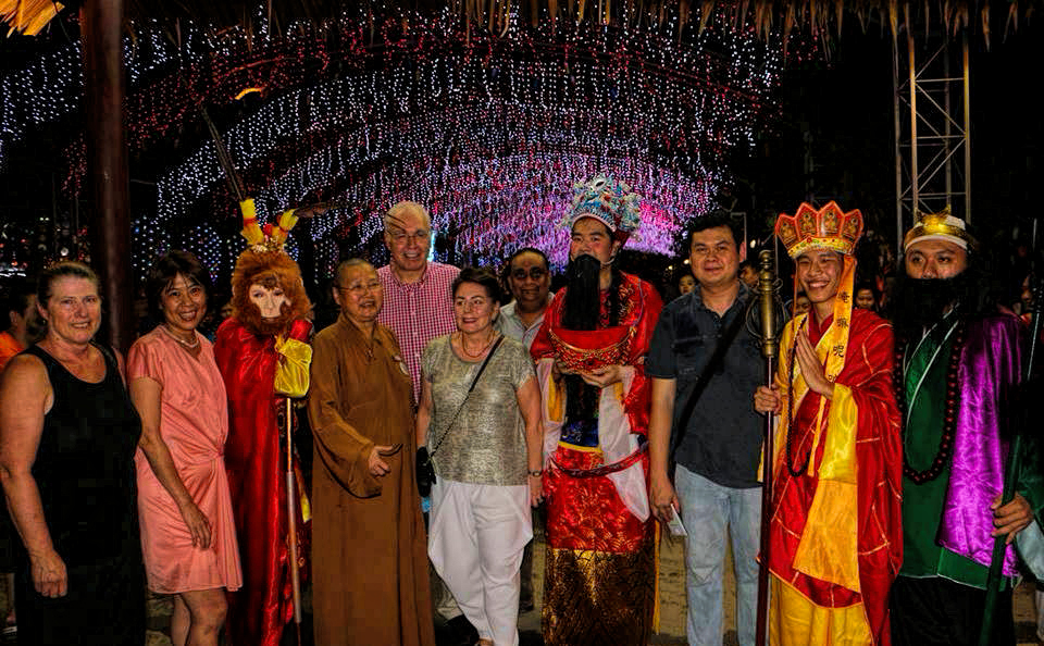 Long stay guests with the Godly characters and the organiser (4th from left).